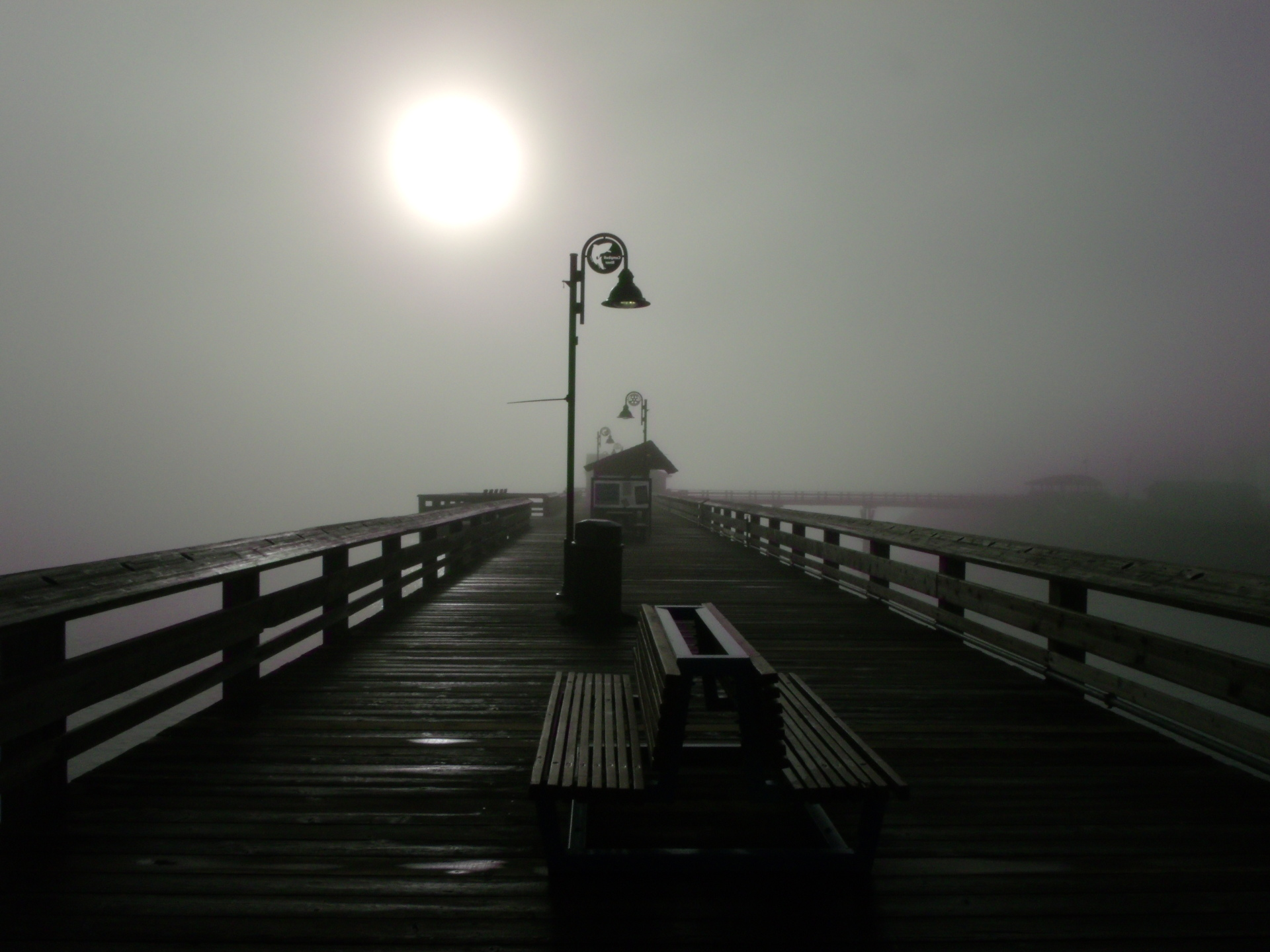 Campbell River, B.C. pier in the fog
