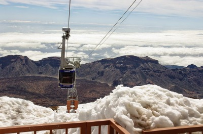 Tenerife mount teide cable car teleferico snow on base station