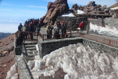 Snow on Tenerife mount teide cable car teleferico base station
