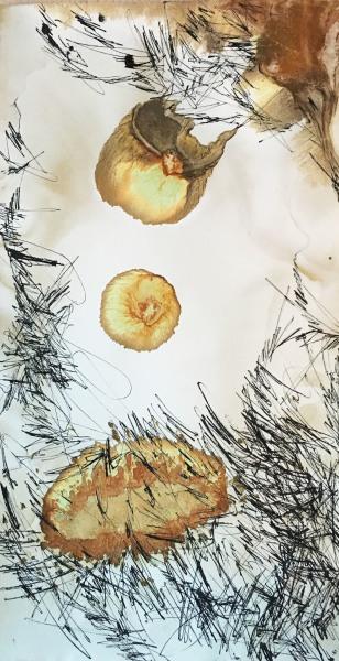 Nikola Klanicova    I    Mankind Trail    I    16 x 8    I    Handmade Paper, Sumi, Fe, Cr    I    $300