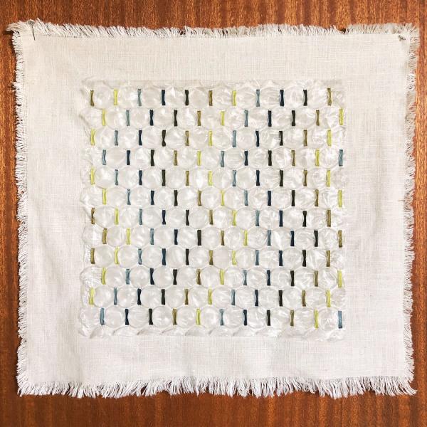 Amy Kim Keeler    I    Soft Landing 03    I     18 x 17   I    Cotton, Linen, Rayon, Found Bubble Wrap    I    $665