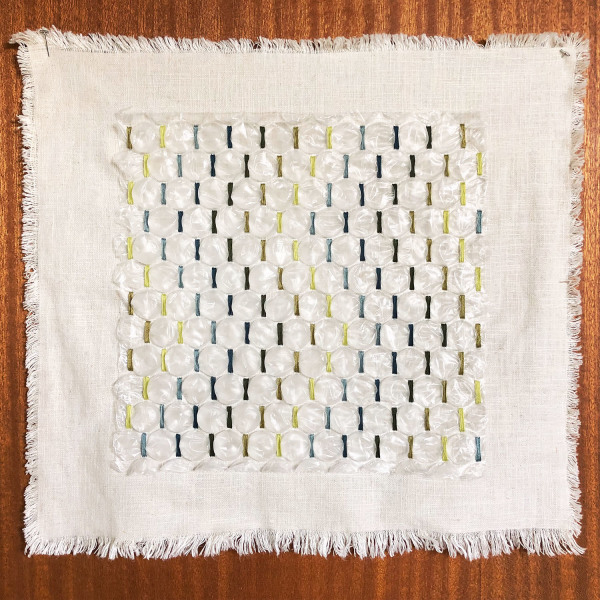 Amy Kim Keeler    I    Soft Landing 03    I     18 x 17   I    Cotton, Linen, Rayon, Found Bubble Wrap    I    $665
