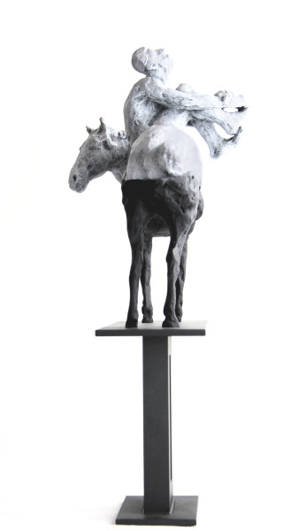 Belgin Yucelen    I     Man and the Horse    I    19 x 11 x 4    I    Bronze and Stainless Steel    I    $2,800
