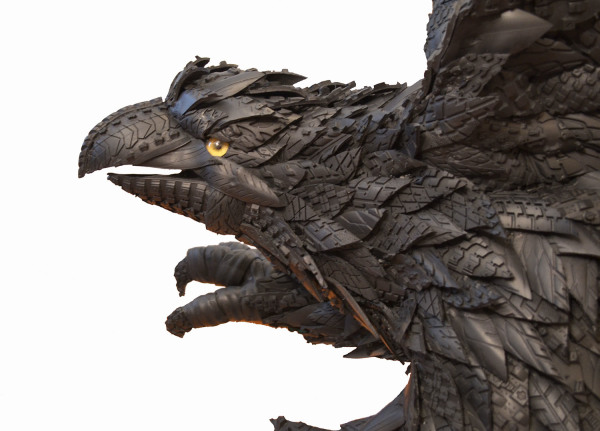 Blake McFarland    I    Treated Eagle (Detail)    I     55 x 45 x 44    I    Recycled Tire Sculpture    I     $12,000