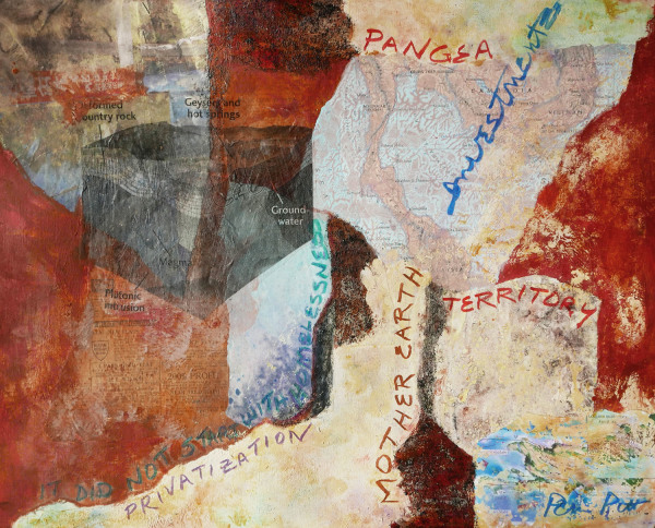 Pamela Pitt    I    Pangea    I    16 x 20    I    Acrylic, Mixed Media Collage    I    $325