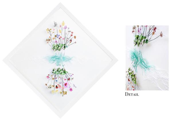 Sarah Misra    I    Hybrid Species    I    19.75 x 19.75    Cut Paper, Pins and Thread    I    $400
