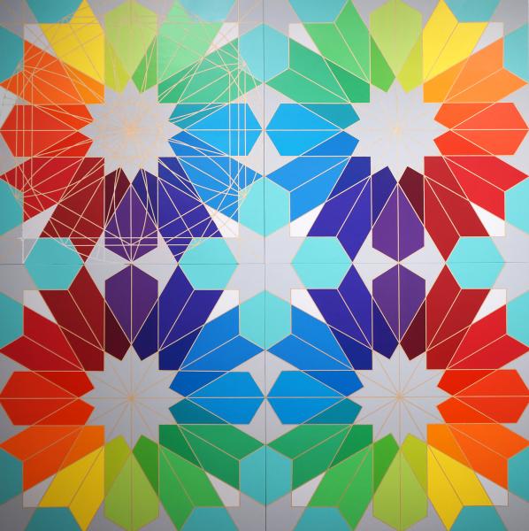 Fariba Abedin    I    Geometry #146, Art Meets Science    I    72  x 72    I     Acrylic on Wood Panels    I    $35,000
