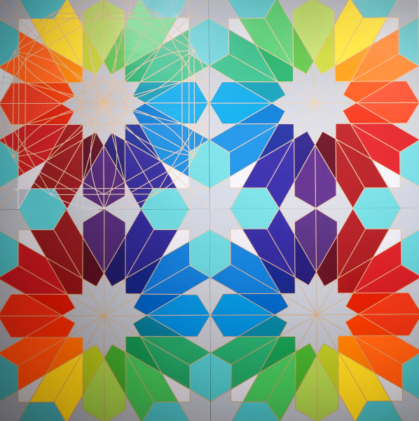 Fariba Abedin    I    Geometry #146, Art Meets Science    I    72  x 72    I     Acrylic on Wood Panels    I    $35,000