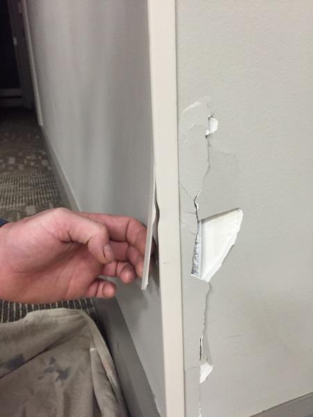 Corner & wall damage BEFORE