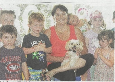Newscatle newspaper picture; check out the sweetie pie with her head on my shoulder