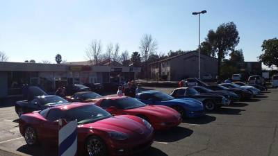 Cars lined up for our run