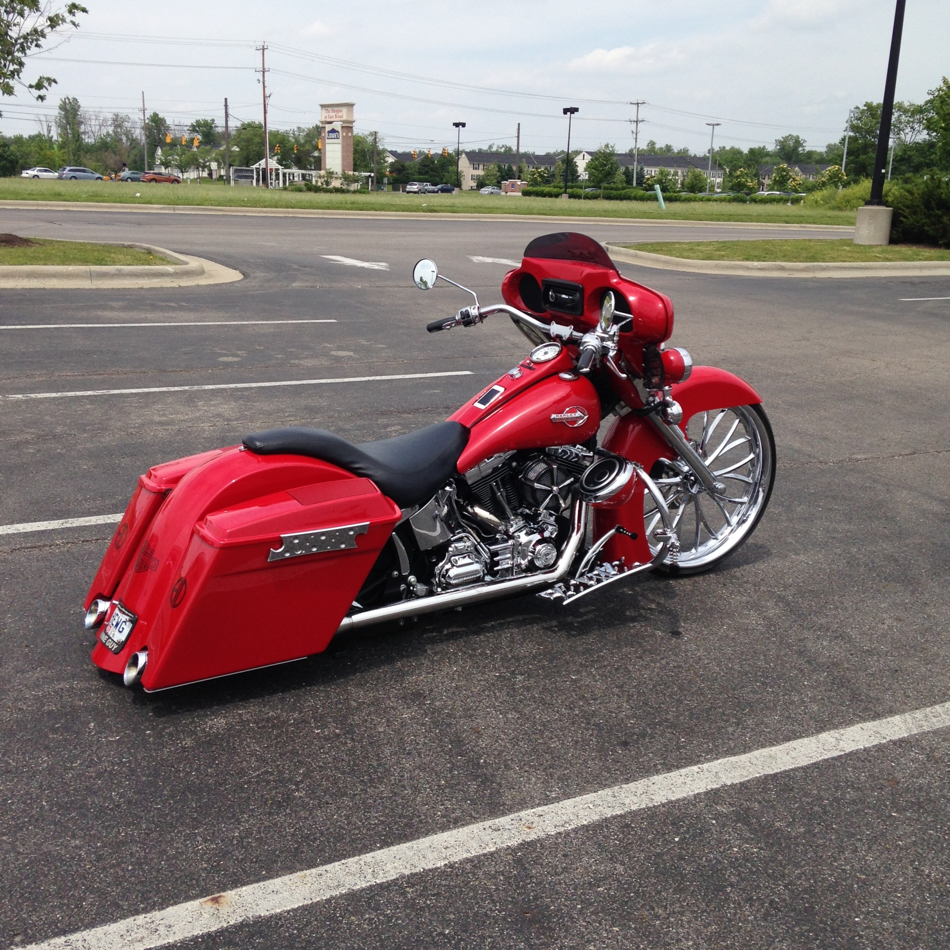 2008 Softail with 26: wheel and Dragon fly fairing