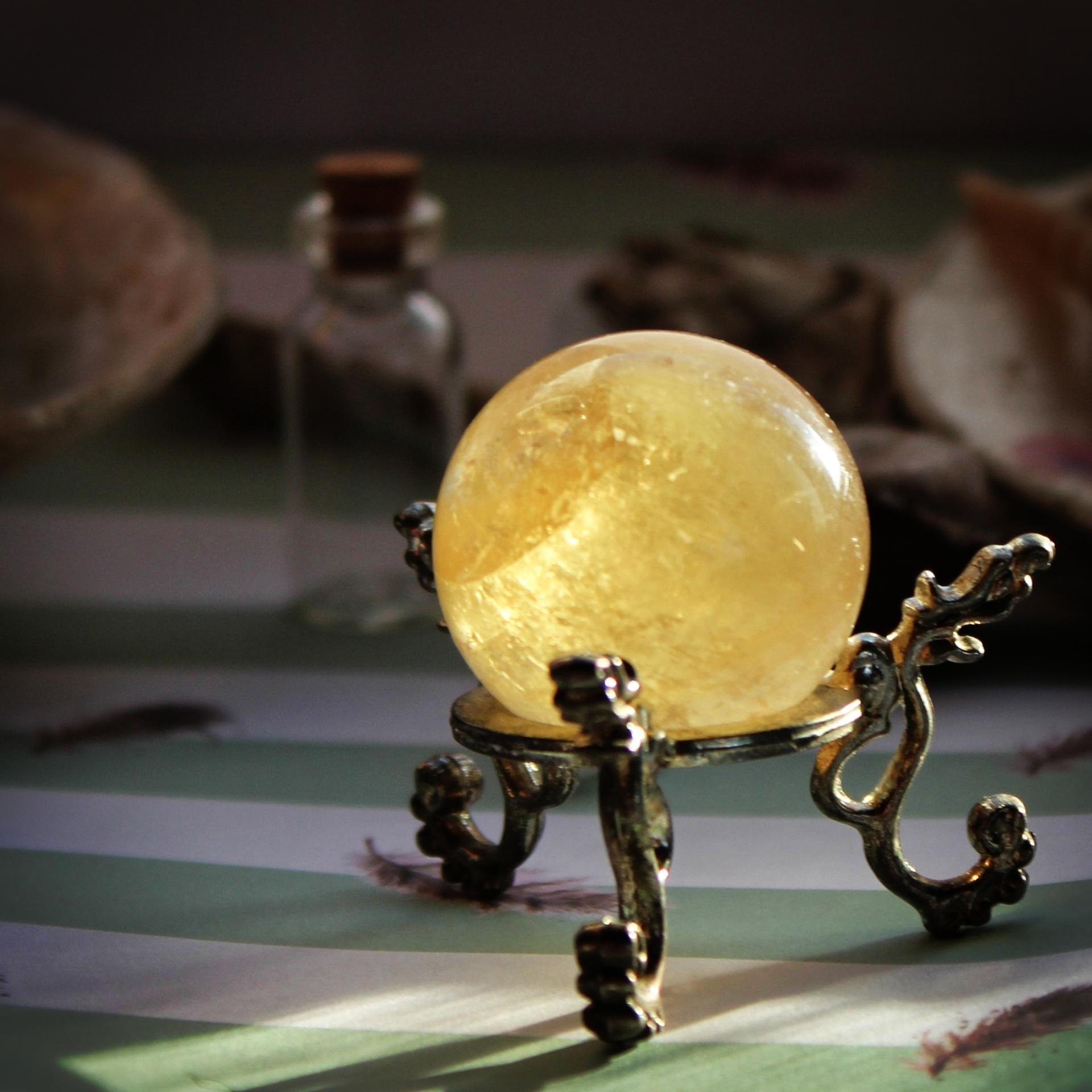 honey calcite, crystal ball