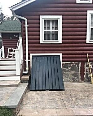 LuciGold All Aluminum Custom designed basement bulkhead door for sloped foundation