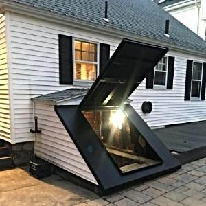 LuciGold lightweight all aluminum basement bulkhead door. Sloped foundation