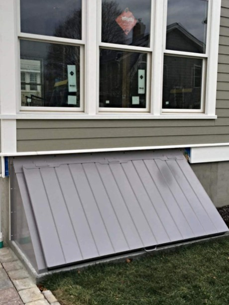 LuciGold lightweight all aluminum basement bulkhead door custom designed for extra-wide entryway
