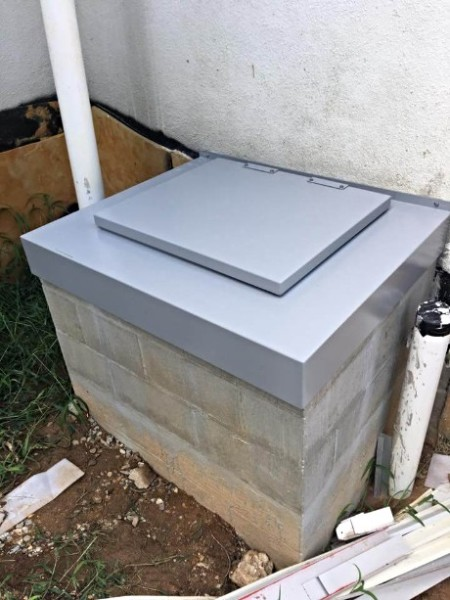 LuciGold lightweight all aluminum basement bulkhead door, flat profile hatch for utilitarian uses