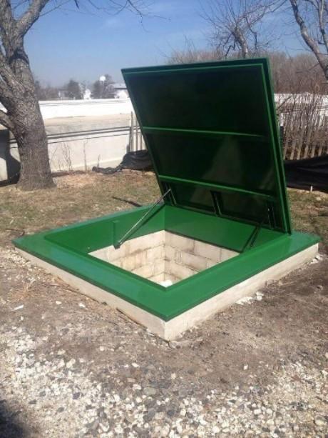 LuciGold lightweight all aluminum basement bulkhead door, flat profile hatch open position