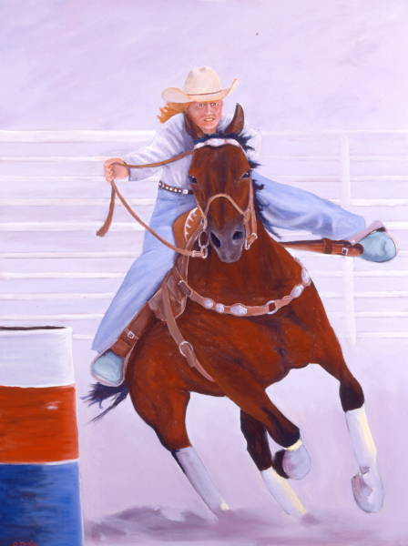 "BARREL RACER, oil, 48""x36"""