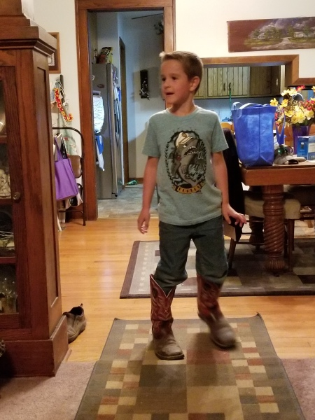 Lincoln in dads boots