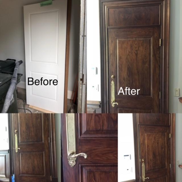 Imitation of the wood on the metal door