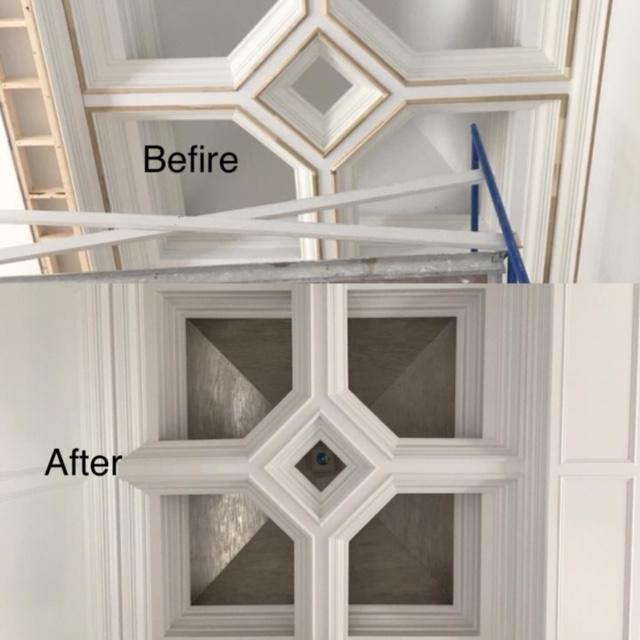Metallic plaster on the ceiling