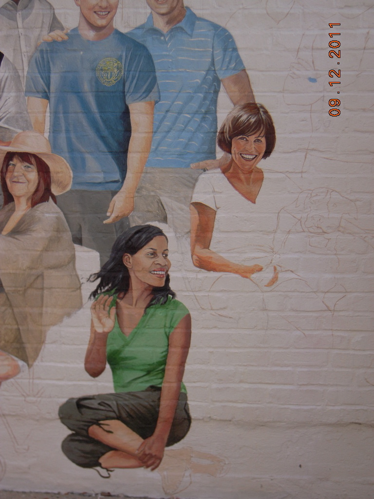 Mural on the brick wall outside ( Downtown Naperville)