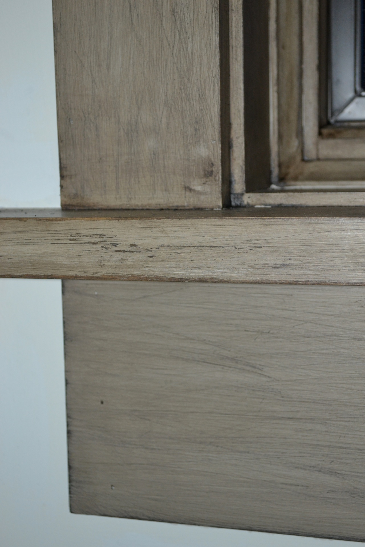rustic finish on the window frame