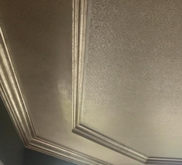 venetian plaster, silver leafs and stencil