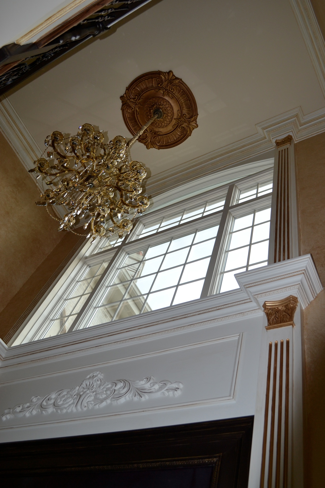 medallion, walls and crown moldings