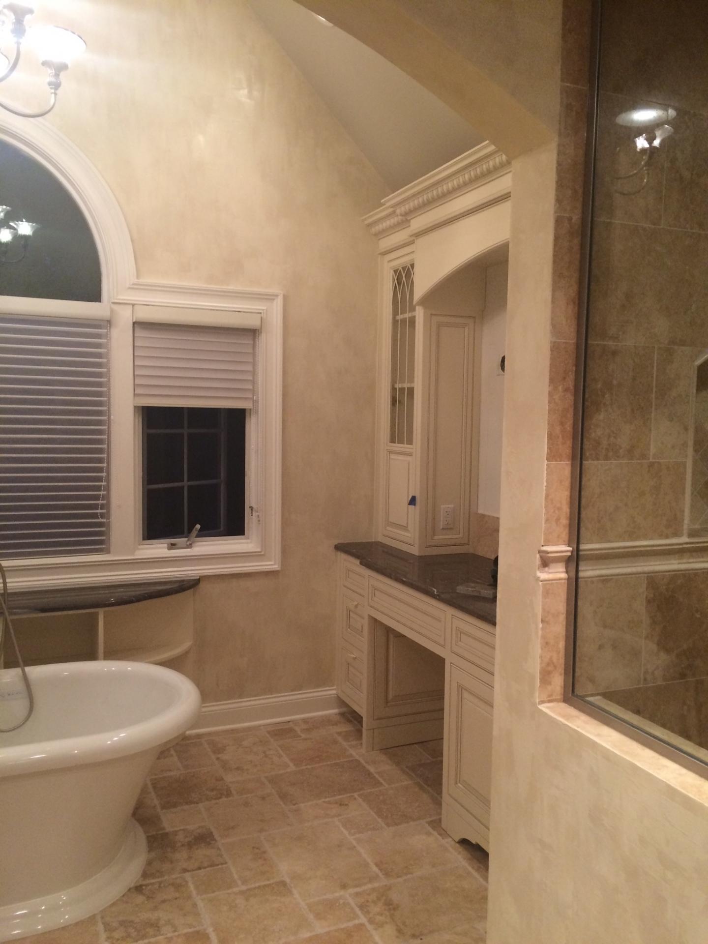 master bathroom plaster finish