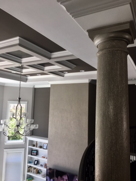 columns and fireplace