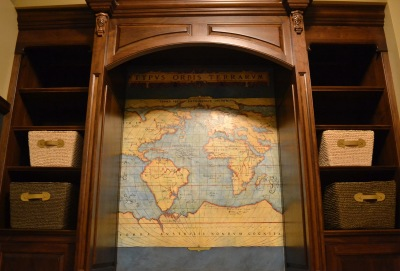 World map painted on canwas