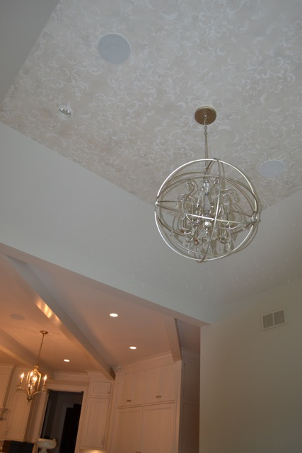 Faux finish on the ceiling with stencil