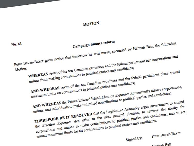 Motion 41 - Campaign Finance Reform
