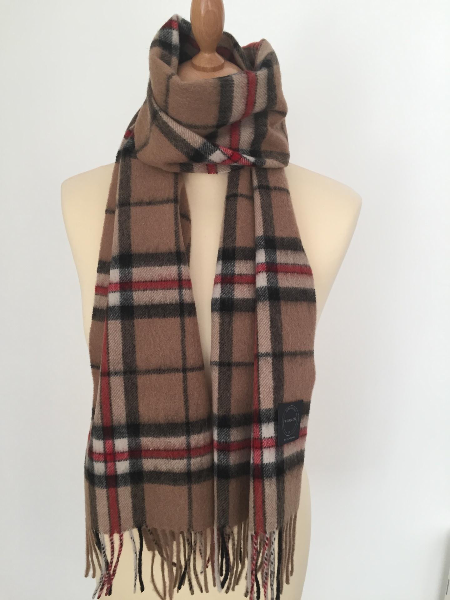 Camel Thompson Tartan Lambswool scarf