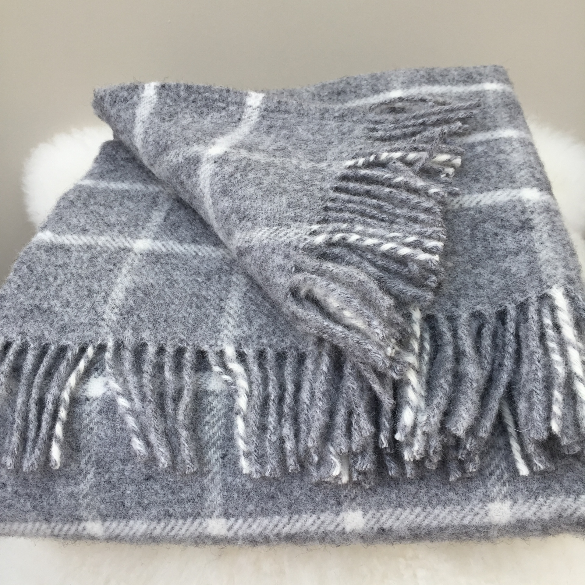 Chequered Check grey throw