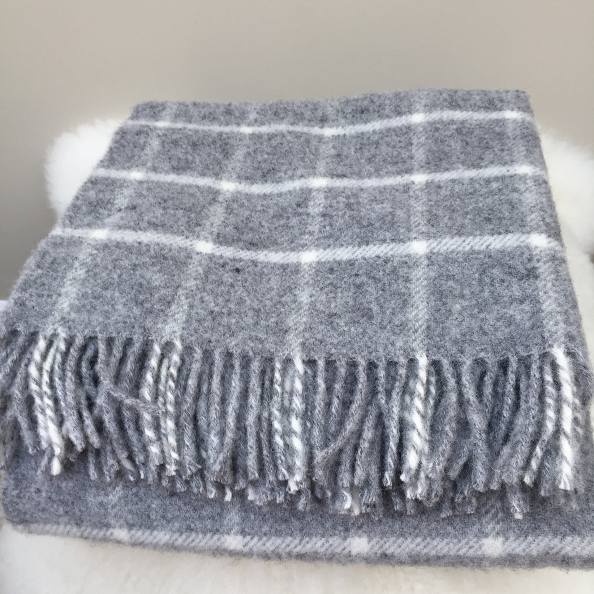 Chequered Check grey Knee Rug
