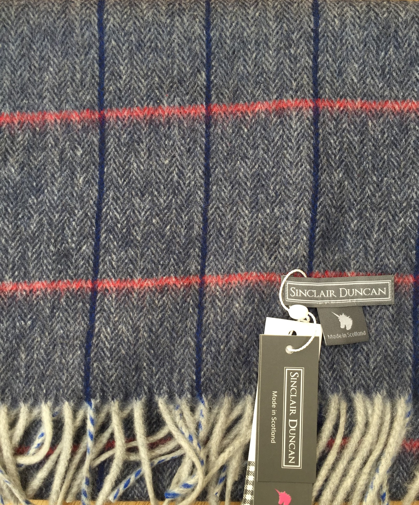Navy tweed Cashmere scarf