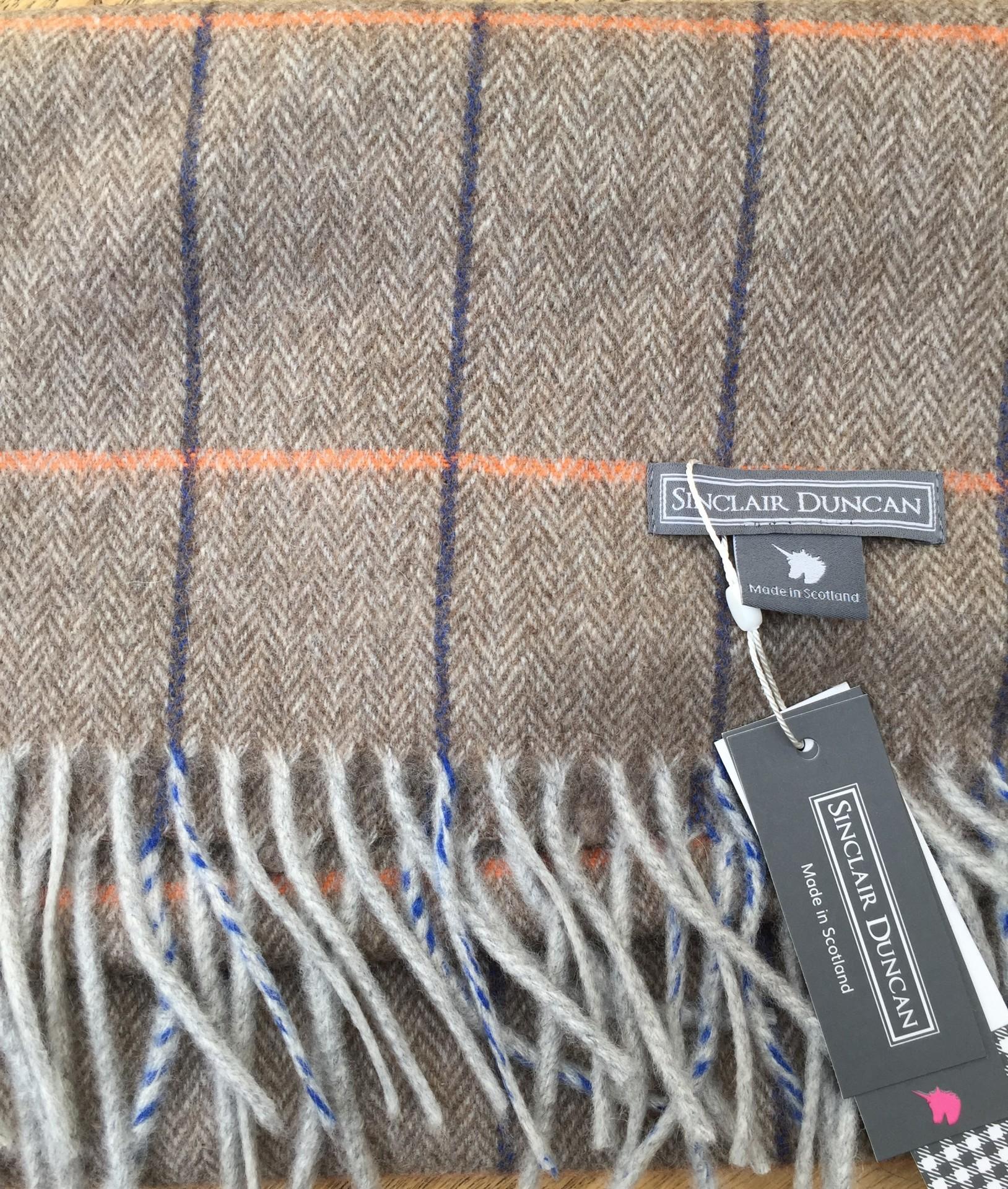 Brown tweed Cashmere scarf
