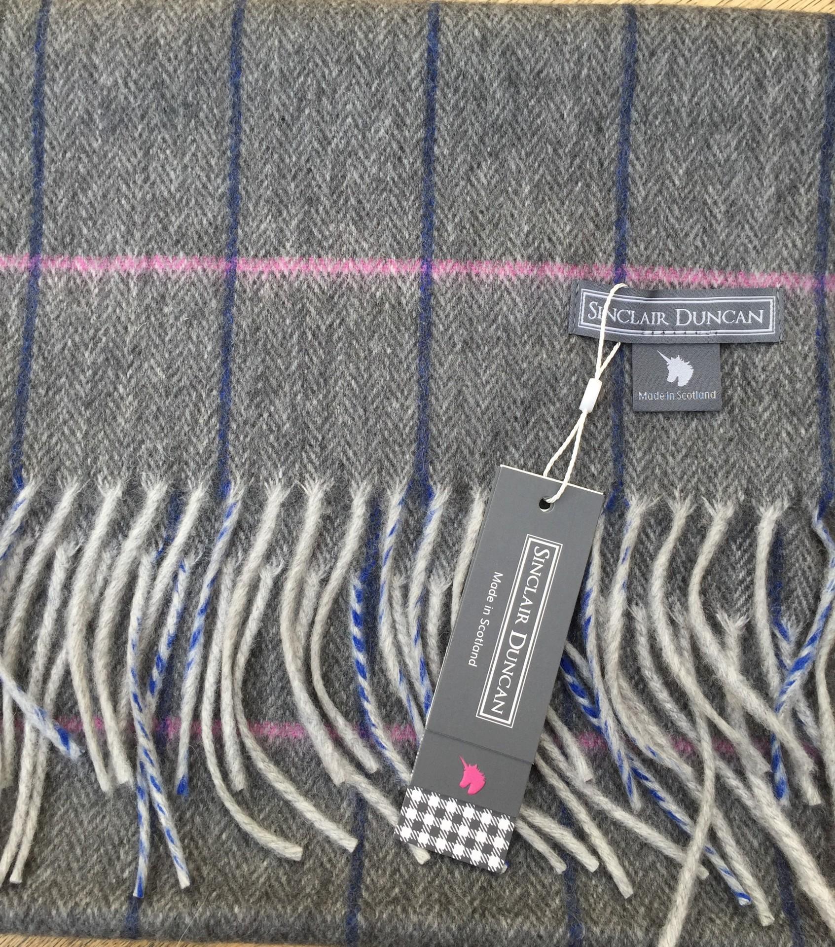 Dark Grey Cashmere tweed scarf