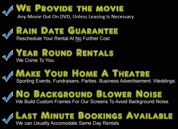 Outdoor portable movie screen rentals Flanders NY
