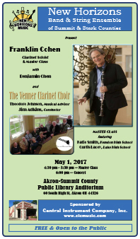 May 1, 2017 The Venner Clarinet Choir featuring soloists Franklin Cohen with Benjamin Chen.
