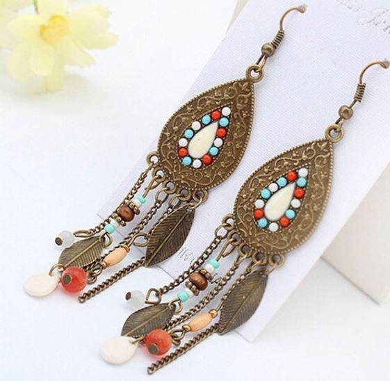 Boho Womens Leaf Tassel Earrings