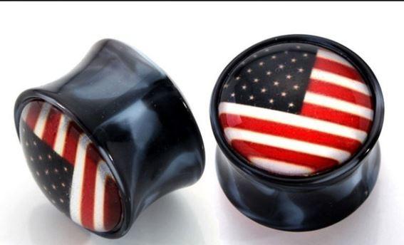 American Flag Gauge Earring
