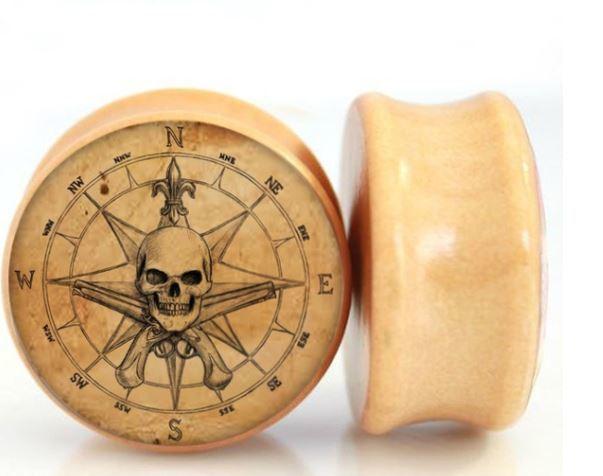 Pirate Skull Gauge Earring