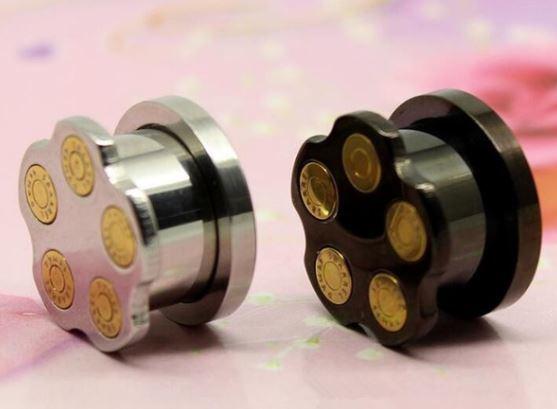 Revolver Bullet Gauge Earring