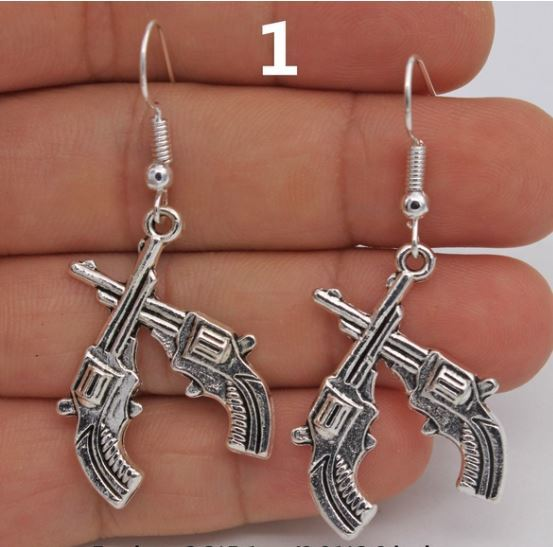 Pistol Dangle Earrings Click for options and styles