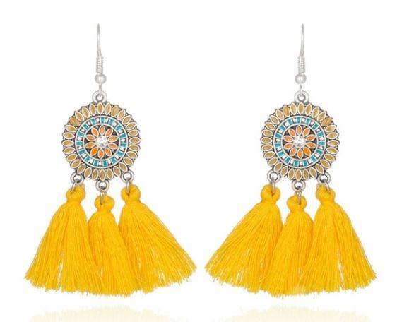 Sunflower Tassel Earrings  Click for options and colors