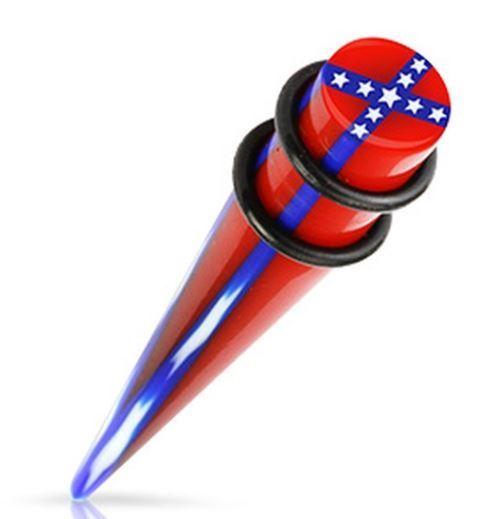 Confederate Flag Spike Gauge Earring